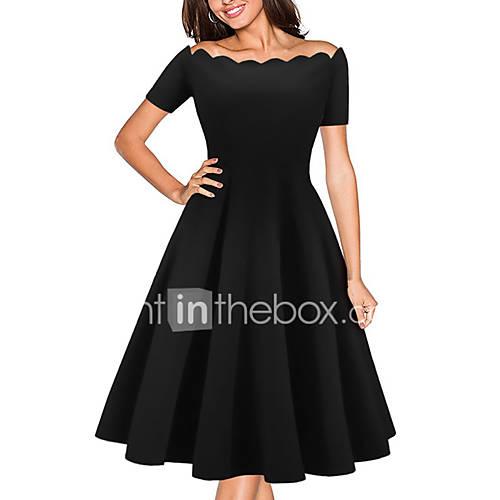 dames-casual-dagelijks-nette-schoenen-eenvoudig-schede-jurk-effen-schouderafhangend-boven-de-knie-korte-mouw-rood-zwart-polyester-alle
