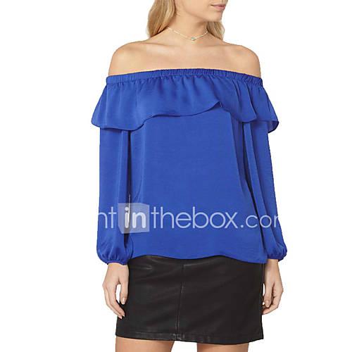 dames-sexy-street-chic-lente-herfst-t-shirt-grote-maten-casual-dagelijks-vakantie-effen-boothals-lange-mouw-polyester-medium