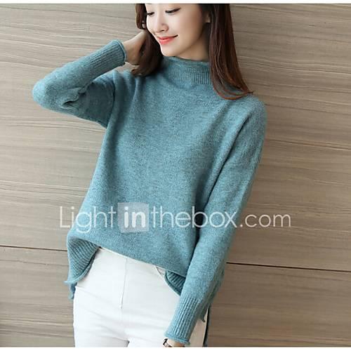 dames-casual-dagelijks-eenvoudig-normaal-vest-effen-coltrui-lange-mouw-polyester-lente-herfst-medium-micro-elastisch