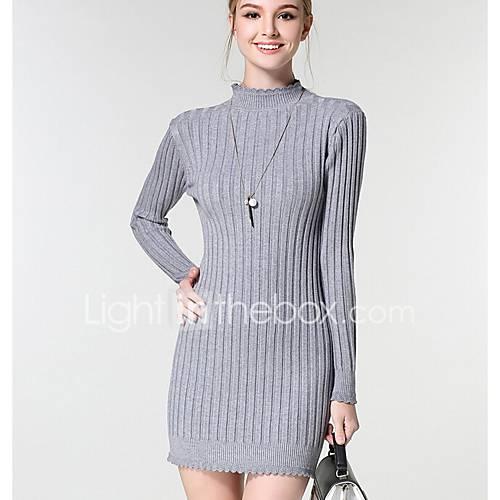 dames-casual-dagelijks-eenvoudig-a-lijn-jurk-effen-ronde-hals-boven-de-knie-lange-mouw-katoen-lente-herfst-medium-taille-micro-elastisch