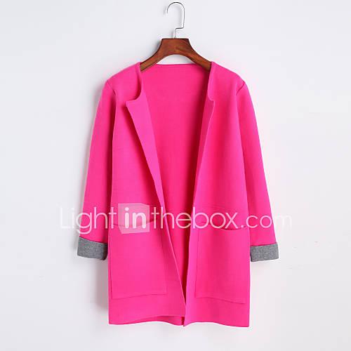 dames-uitgaan-feestjecocktail-club-sexy-schattig-chinoiserie-normaal-vest-effen-roze-rood-zwart-bruin-grijs-paars-meerkleurig-ronde-hals
