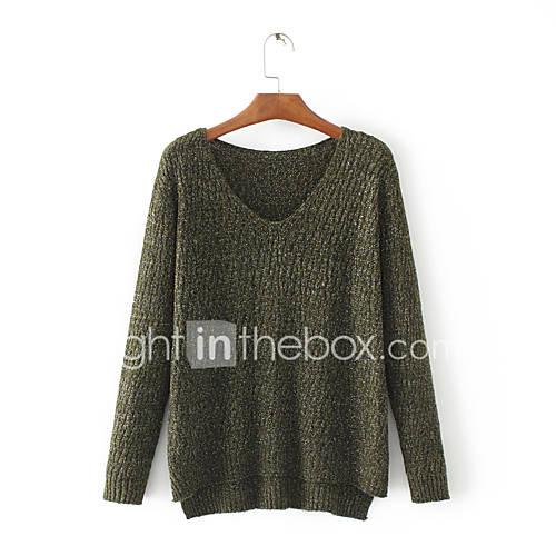 dames-uitgaan-casual-dagelijks-eenvoudig-street-chic-normaal-pullover-effen-bloemen-grijs-groen-v-hals-lange-mouw-wol-lente-medium