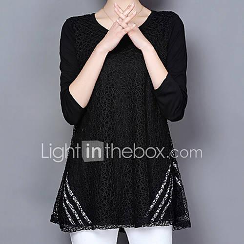 dames-vintage-eenvoudig-chinoiserie-alle-seizoenen-zomer-t-shirt-grote-maten-casual-dagelijks-werk-effen-ronde-hals-lange-mouw-zwart