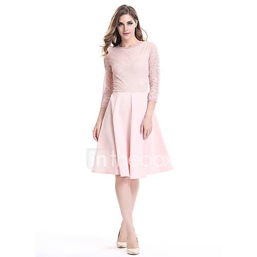 dames-uitgaan-casual-dagelijks-vakantie-eenvoudig-ruimvallend-wijd-uitlopend-jurk-effen-ronde-hals-tot-de-knie-driekwart-mouw-polyester
