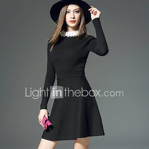 dames-uitgaan-casual-dagelijks-eenvoudig-a-lijn-jurk-effen-ronde-hals-tot-de-knie-lange-mouw-polyester-herfst-winter-medium-taille