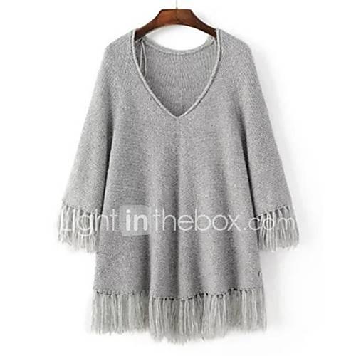 dames-uitgaan-casual-dagelijks-eenvoudig-street-chic-normaal-pullover-effen-v-hals-lange-mouw-wol-lente-medium-micro-elastisch