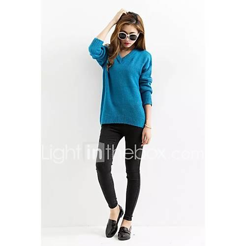 dames-casual-dagelijks-uitgaan-eenvoudig-street-chic-normaal-pullover-effen-blauw-ronde-hals-lange-mouw-wol-lente-medium-micro-elastisch