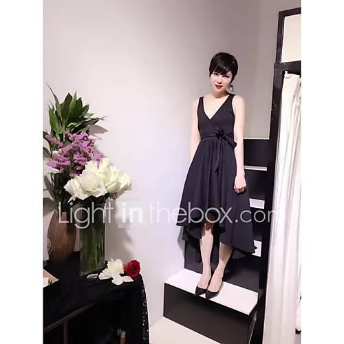 dames-uitgaan-schattig-a-lijn-jurk-effen-v-hals-asymmetrisch-mouwloos-katoen-lente-zomer-medium-taille-micro-elastisch-medium
