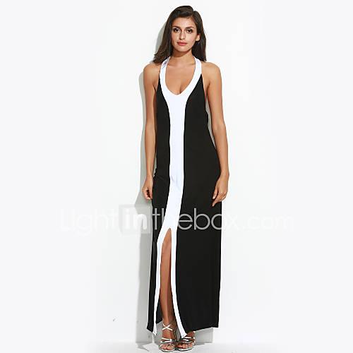 dames-casual-dagelijks-sexy-eenvoudig-bodycon-jurk-effen-halter-maxi-mouwloos-zwart-polyester-alle-seizoenen-medium-taille-rekbaar