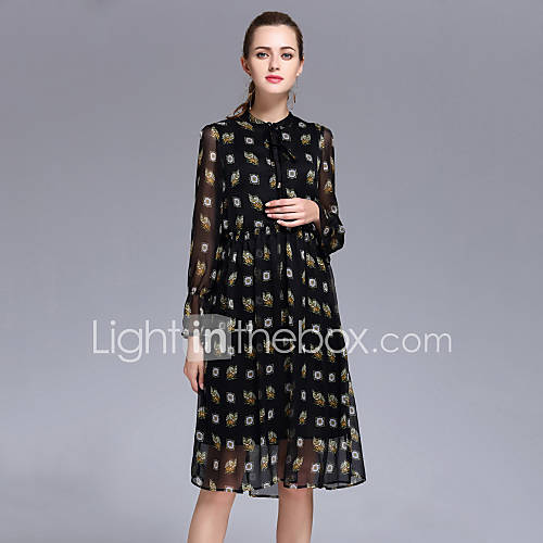 dames-casual-dagelijks-eenvoudig-schede-jurk-print-ronde-hals-midi-lange-mouw-wit-zwart-polyester-lente-zomer-hoge-taille-inelastisch-dun
