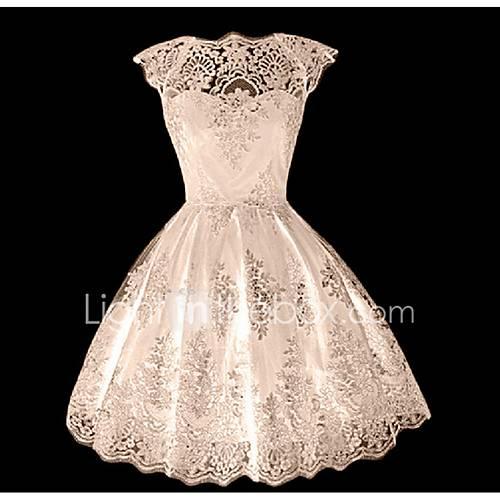 dames-uitgaan-schattig-kant-jurk-effen-ronde-hals-boven-de-knie-mouwloos-polyester-zomer-medium-taille-micro-elastisch-medium