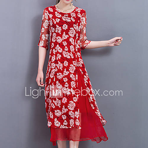dames-uitgaan-casual-dagelijks-grote-maten-schattig-street-chic-chinoiserie-recht-jurk-bloemen-ronde-hals-midi-halflange-mouw-overige-alle