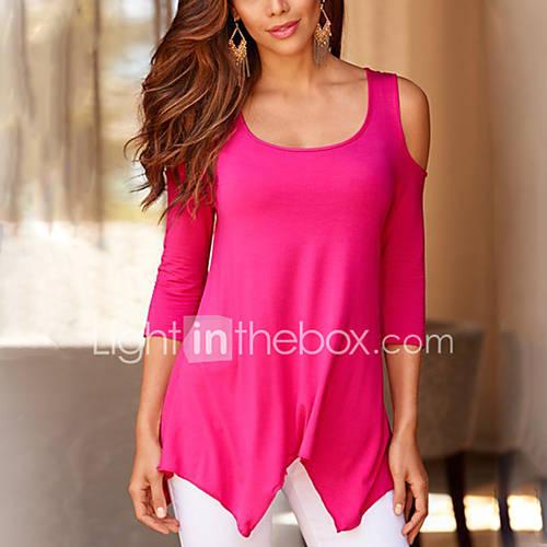 dames-eenvoudig-street-chic-lente-herfst-t-shirt-uitgaan-casual-dagelijks-effen-ronde-hals-lange-mouw-polyester-medium