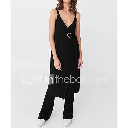 dames-uitgaan-casual-dagelijks-eenvoudig-street-chic-ruimvallend-recht-schede-jurk-effen-bloemen-bandje-midi-tot-de-knie-mouwloos-zwart