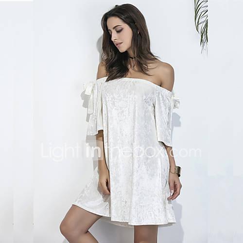 dames-uitgaan-casual-dagelijks-strand-sexy-eenvoudig-street-chic-ruimvallend-recht-tuniek-jurk-effen-boothals-boven-de-knie-korte-mouw-wit