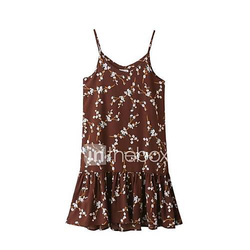 dames-uitgaan-casual-dagelijks-eenvoudig-street-chic-ruimvallend-jurk-effen-bloemen-bandje-midi-mouwloos-rood-zwart-zijde-katoen-lente