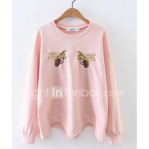 dames-eenvoudig-schattig-casual-dagelijks-uitgaan-sweatshirt-print-geborduurd-ronde-hals-inelastisch-katoen-lange-mouw-winter
