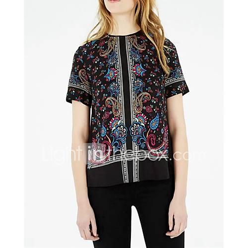 dames-sexy-eenvoudig-street-chic-lente-herfst-t-shirt-uitgaan-casual-dagelijks-bloemen-kleurenblok-geborduurd-ronde-hals-korte-mouw-zwart