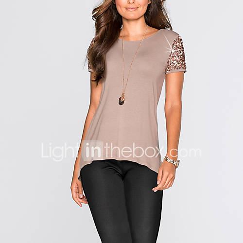 dames-eenvoudig-street-chic-zomer-herfst-t-shirt-uitgaan-casual-dagelijks-patchwork-ronde-hals-korte-mouw-polyester-medium