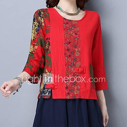 dames-vintage-schattig-chinoiserie-lente-herfst-t-shirt-uitgaan-casual-dagelijks-vakantie-geborduurd-ronde-hals-driekwart-mouw-rood-katoen