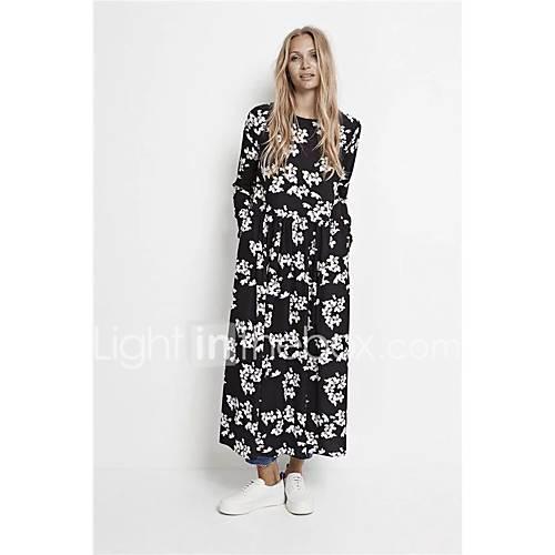 dames-uitgaan-casual-dagelijks-eenvoudig-street-chic-ruimvallend-recht-wijd-uitlopend-jurk-effen-bloemen-ronde-hals-maxi-lange-mouw-zwart