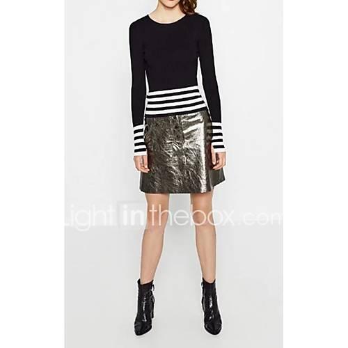 dames-uitgaan-casual-dagelijks-eenvoudig-street-chic-kort-pullover-effen-gestreept-ronde-hals-lange-mouw-wol-lente-medium-micro-elastisch