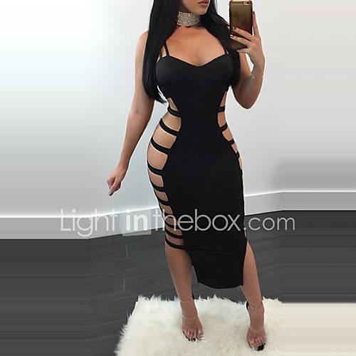 dames-casual-dagelijks-club-sexy-street-chic-bodycon-jurk-effen-bandje-midi-mouwloos-zwart-polyester-zomer-medium-taille-micro-elastisch