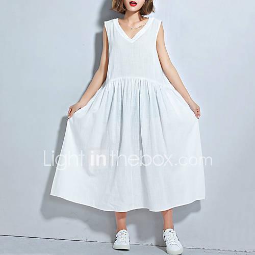dames-grote-maten-casual-dagelijks-eenvoudig-ruimvallend-wijd-uitlopend-jurk-effen-v-hals-midi-mouwloos-katoen-linnen-zomer-medium-taille