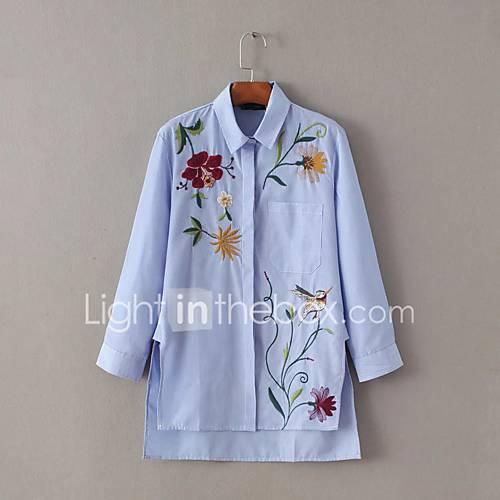 dames-eenvoudig-schattig-lente-herfst-overhemd-uitgaan-casual-dagelijks-geborduurd-overhemdkraag-lange-mouw-katoen