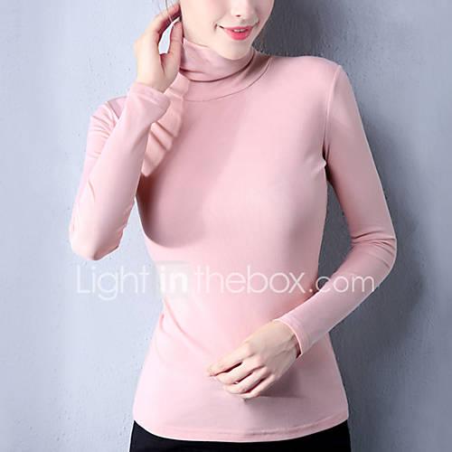 dames-eenvoudig-street-chic-lente-herfst-t-shirt-uitgaan-casual-dagelijks-grote-maten-patchwork-coltrui-lange-mouw-roze-rood-wit-zwart
