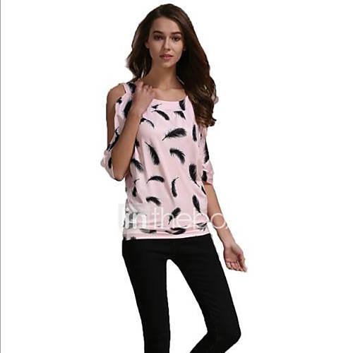 dames-sexy-zomer-t-shirt-uitgaan-print-strakke-ronde-hals-korte-mouw-roze-rood-katoen-polyester-dun