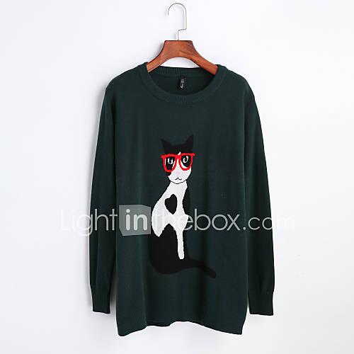 dames-uitgaan-casual-dagelijks-eenvoudig-normaal-pullover-print-zwart-grijs-ronde-hals-lange-mouw-polyester-herfst-winter-medium