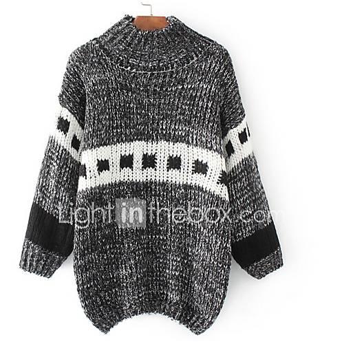dames-casual-dagelijks-eenvoudig-kort-pullover-effen-opstaand-lange-mouw-katoen-lente-herfst-medium-micro-elastisch