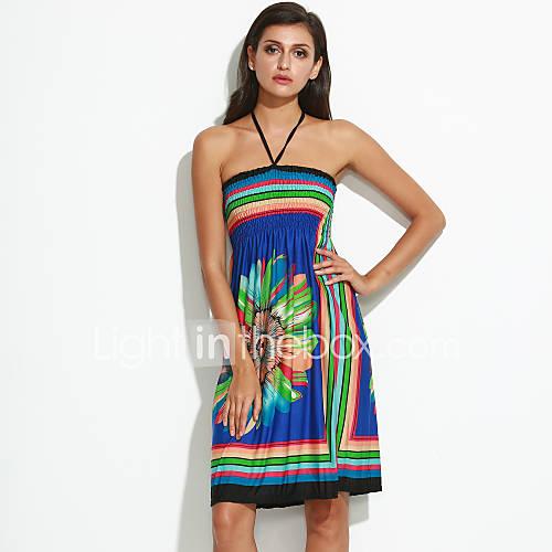 strapless-spandex-polyester-bloem-tot-de-knie-vrouwen-jurk-mouwloos