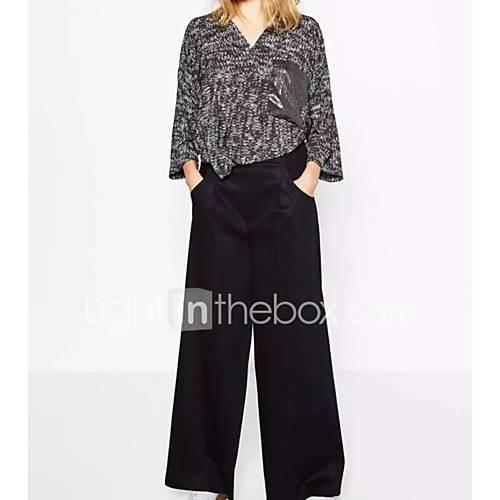 dames-sexy-eenvoudig-street-chic-lente-herfst-t-shirt-uitgaan-casual-dagelijks-kleurenblok-ronde-hals-driekwart-mouw-grijs-katoen-medium