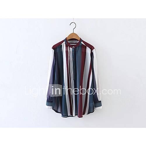 sexy-eenvoudig-street-chic-lente-herfst-overhemd-uitgaan-casual-dagelijks-effen-gestreept-kleurenblok-strakke-ronde-hals-lange-mouw