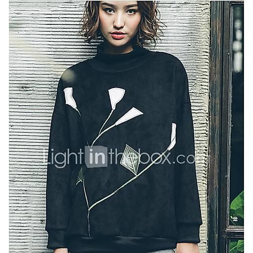 dames-eenvoudig-schattig-casual-dagelijks-uitgaan-sweatshirt-print-geborduurd-coltrui-inelastisch-polyester-lange-mouw-lente-herfst