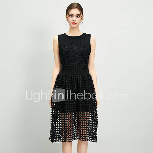 dames-casual-dagelijks-eenvoudig-schede-jurk-effen-ronde-hals-midi-mouwloos-zwart-katoen-lente-zomer-hoge-taille-inelastisch-dun