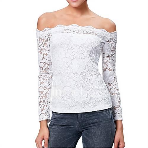 sexy-eenvoudig-schattig-lente-zomer-t-shirt-casual-dagelijks-effen-boothals-lange-mouw-wit-zwart-katoen-medium