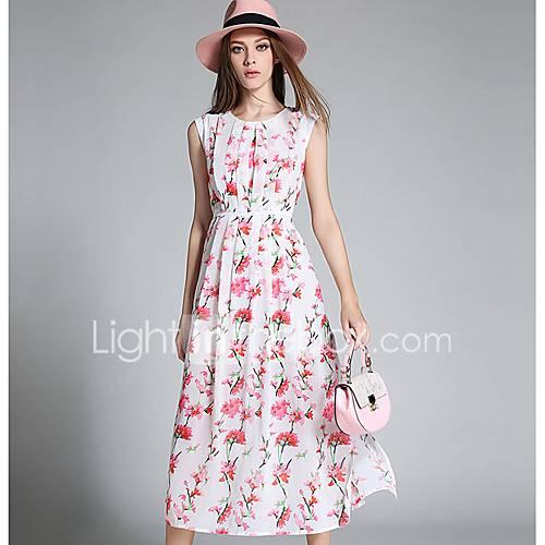 dames-uitgaan-schattig-a-lijn-jurk-geometrisch-ronde-hals-maxi-mouwloos-polyester-lente-medium-taille-micro-elastisch-medium