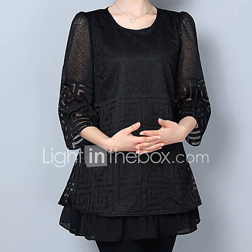 dames-vintage-eenvoudig-chinoiserie-alle-seizoenen-zomer-t-shirt-grote-maten-casual-dagelijks-werk-effen-ronde-hals-driekwart-mouw-zwart