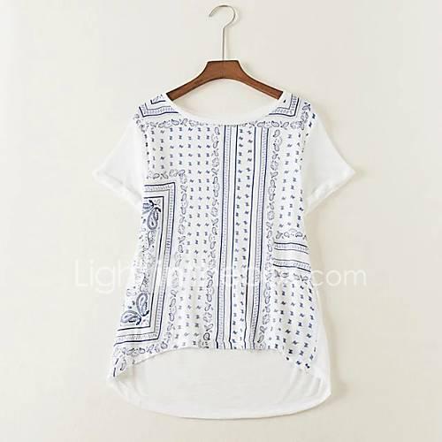 dames-sexy-eenvoudig-street-chic-lente-herfst-t-shirt-uitgaan-casual-dagelijks-effen-bloemen-kleurenblok-ronde-hals-korte-mouw-wit-zijde