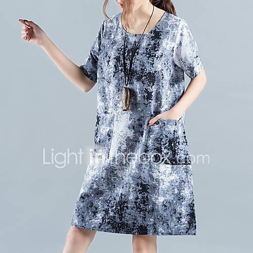 dames-casual-dagelijks-vintage-ruimvallend-jurk-print-ronde-hals-boven-de-knie-korte-mouw-blauw-paars-katoen-linnen-zomer-medium-taille
