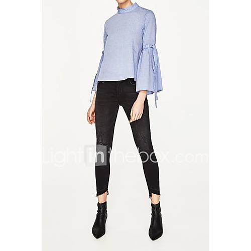 dames-sexy-eenvoudig-street-chic-lente-herfst-overhemd-uitgaan-casual-dagelijks-effen-strakke-ronde-hals-lange-mouw-blauw-zijde-katoen