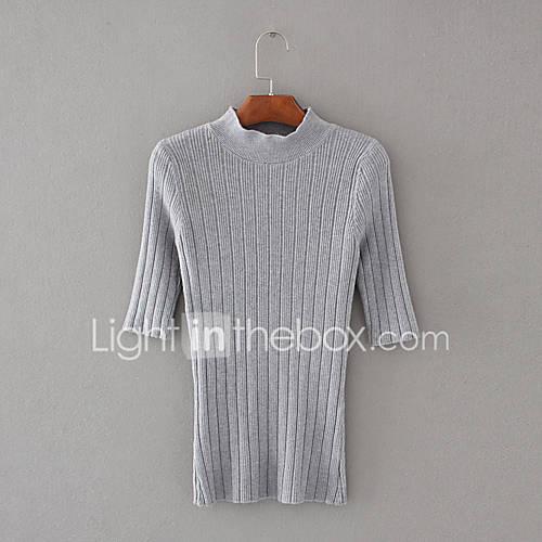 dames-uitgaan-casual-dagelijks-eenvoudig-street-chic-normaal-pullover-effen-bloemen-wit-beige-zwart-grijs-paars-ronde-hals-halflange-mouw
