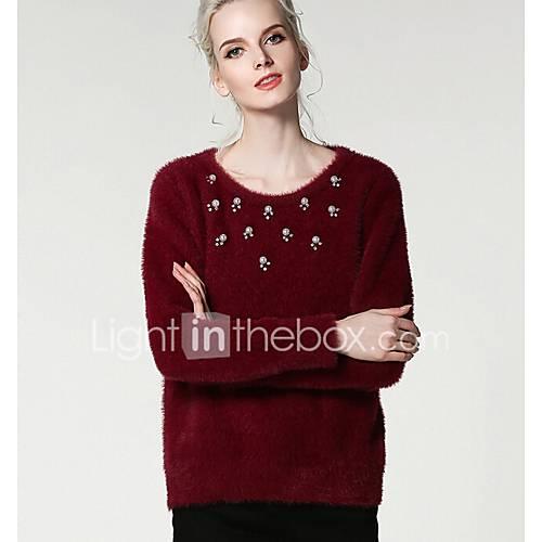 dames-casual-dagelijks-eenvoudig-normaal-pullover-effen-ronde-hals-lange-mouw-polyester-lente-herfst-medium-micro-elastisch
