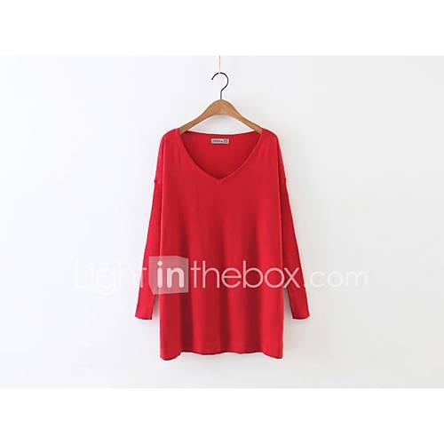 uitgaan-casual-dagelijks-eenvoudig-street-chic-normaal-pullover-effen-bloemen-rood-wit-groen-ronde-hals-lange-mouw-wol-lente-medium