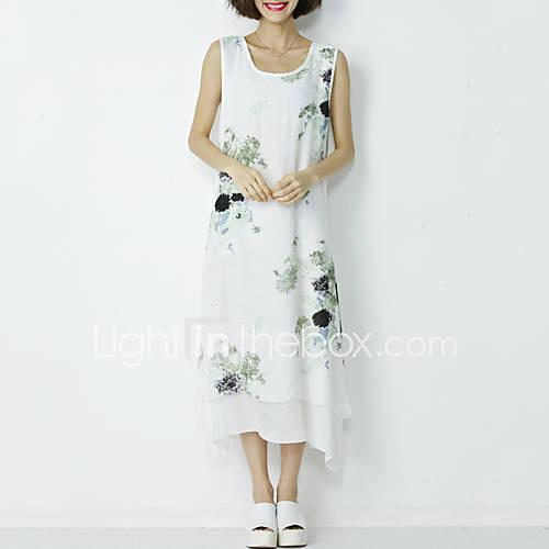 dames-casual-dagelijks-schattig-chinoiserie-a-lijn-schede-jurk-print-ronde-hals-midi-asymmetrisch-mouwloos-polyester-zomer-medium-taille