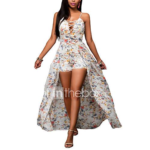 dames-uitgaan-casual-dagelijks-vintage-street-chic-bodycon-jurk-bloemen-bandje-asymmetrisch-mouwloos-polyester-zomer-herfst-hoge-taille