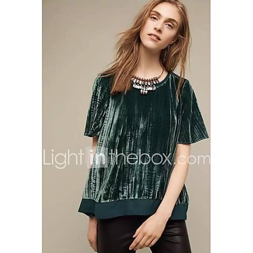 dames-sexy-eenvoudig-street-chic-lente-herfst-t-shirt-uitgaan-casual-dagelijks-kleurenblok-ronde-hals-korte-mouw-blauw-rood-groen-katoen